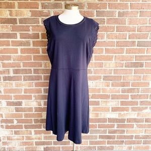 Talbots Navy Blue Fit & Flare Dress XL Petite